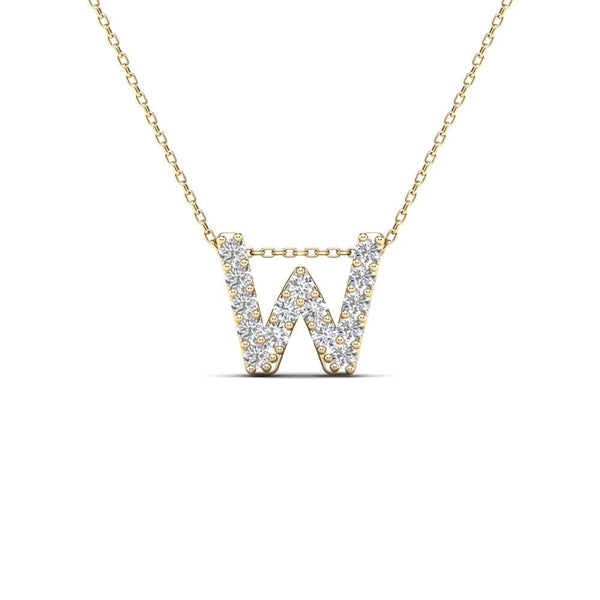 14K Solid Gold 0.14ctw Diamond Initial