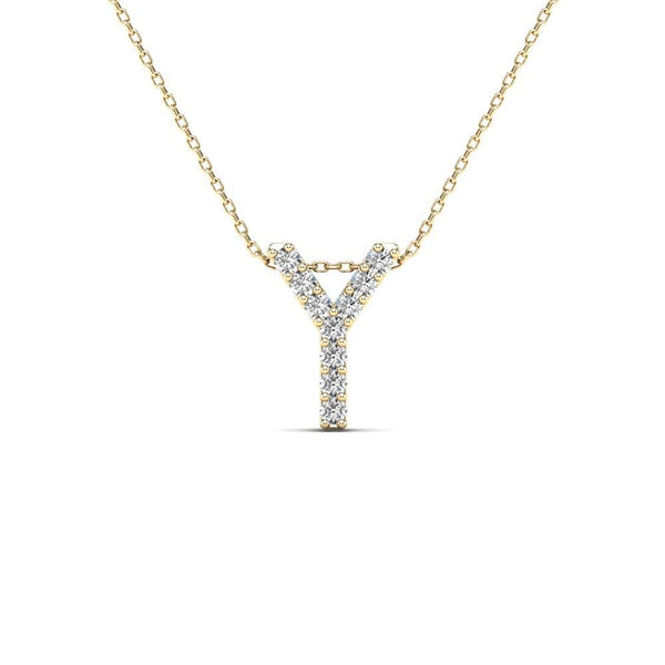 14K Solid Gold 0.09ctw Diamond Initial