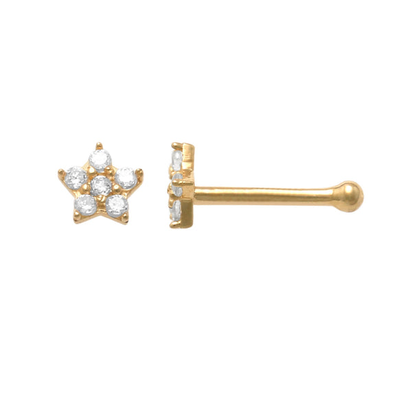 14K Solid Gold Star Nose Bone Ring With CZ 21 Gauge