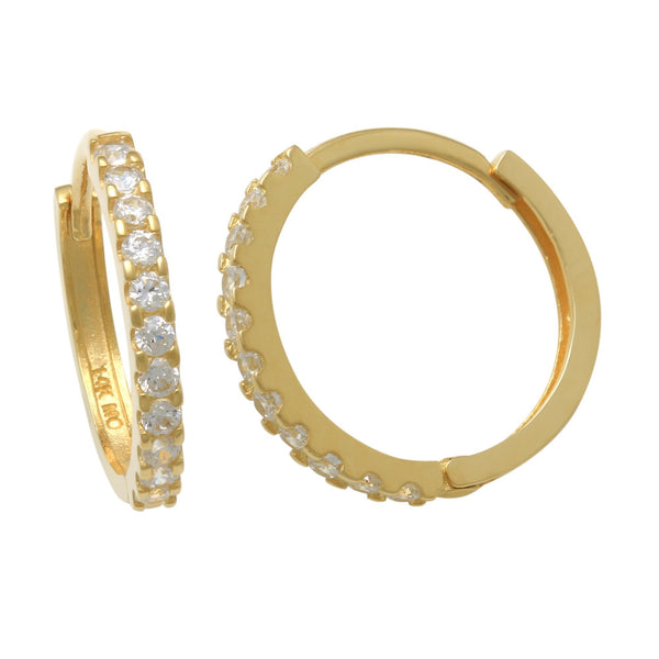 14K Solid Gold 1.5mm CZ Micro-pave Hoop Earrings - More Size Option