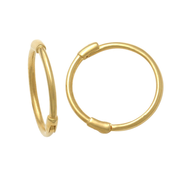 14K Solid Gold Plain Small Hoop Earrings