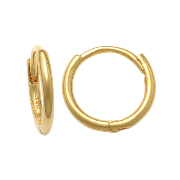 14K Solid Gold NEW Plain Seamless Small Hoop Earrings