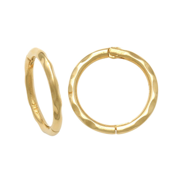 14K Solid Gold Plain Hammered Texture Seamless Hoop Earrings - More Size Option