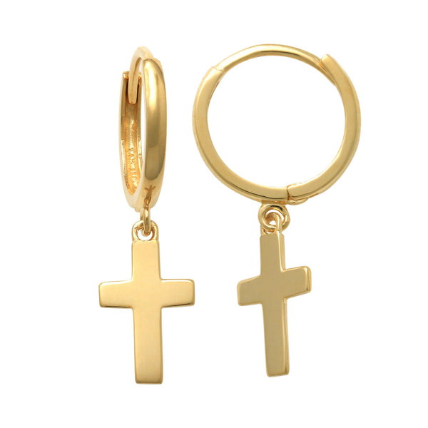 14K Solid Gold Plain Cross Dangle Drop Earrings