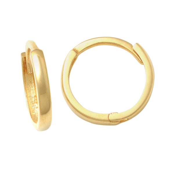 14K Solid Gold Plain Seamless X-Small Hoop Earrings