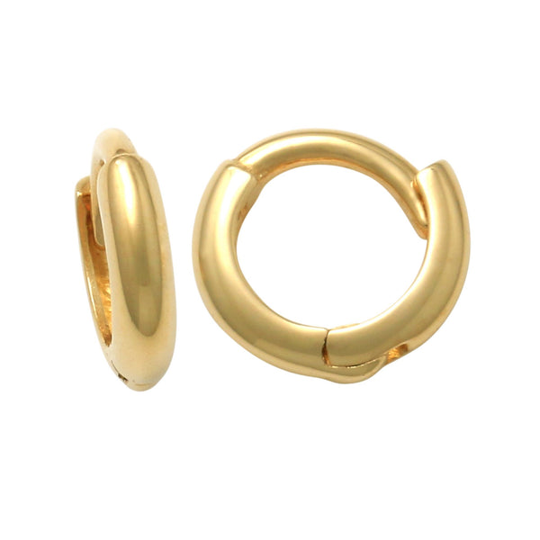 14K Solid Gold Mini Baby Plain Simple Hoop Earrings