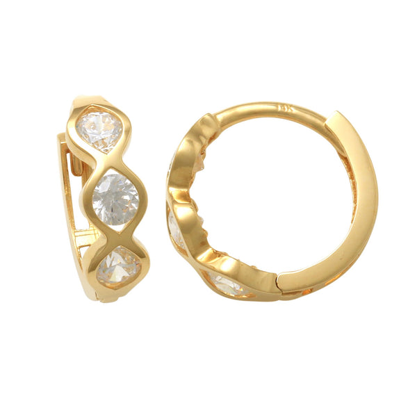 14K Solid Gold Bezel Three CZ Hoop Earrings