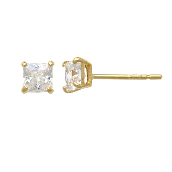 14K Solid Gold Square Swarovski Stud Earrings 3mm-8mm