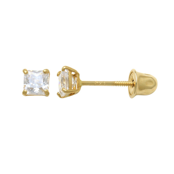 14K Solid Gold Square Swarovski Stud Screwback Earrings 3mm-6mm