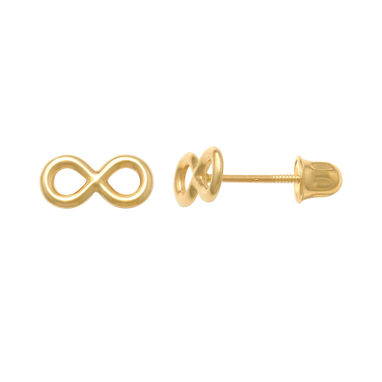 14K Solid Gold Infinity Baby Earrings