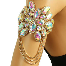 LUXE Gold AB Crystal Upper Arm Bracelet Adjustable Ankle Cuff