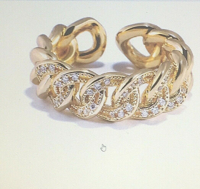 GOLD Clear CZ Adjustable Chain Design Cuff Cocktail Ring
