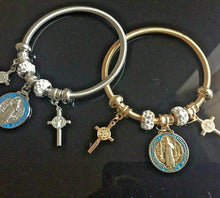 Gold or Silver Religious Cross Charm Flexible Stretch Bracelet