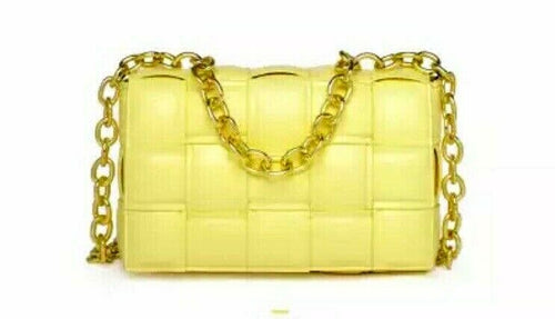 VEGAN LEATHER Lemon Yellow Metal Chain Weave Bag Kat Handbag