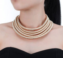 Statement Gold 5 Layer Metallic Collar Necklace & Bracelet Set