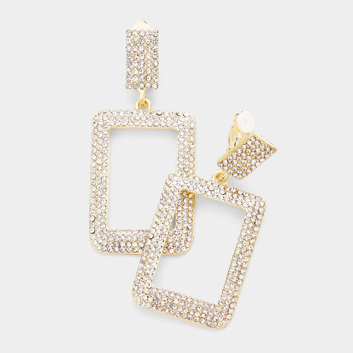 Statement Long CLIP ON Gold Clear Crystal Rectangle Earrings