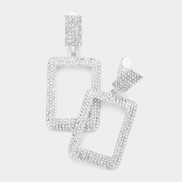 Statement Long CLIP ON Silver Clear Crystal Rectangle Earrings