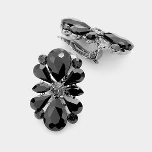 ELEGANT Statement Black Jet Big CLIP ON Crystal Cocktail Earrings