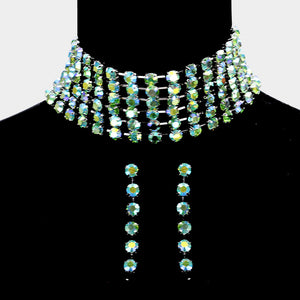 Celeb Statement Silver AB Green Fire Crystal Choker Necklace Set