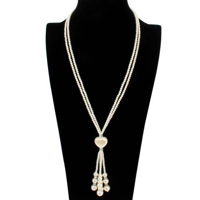 Statement Gold Cream Pearl Long Jumper Heart Tassel Necklace
