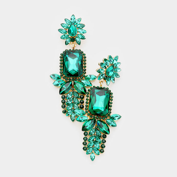STATEMENT Exquisite Gold Emerald Green Crystal Cocktail Earrings