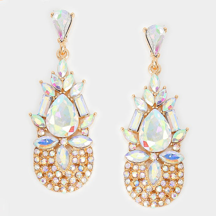 Exquisite Gold AB Tear Drop Crystal Cocktail Bridal Earrings