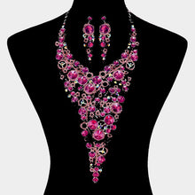 LUXE Statement Silver Fuchsia Pink Crystal Long Bib Necklace Set