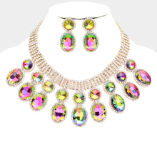 LUXE Gorgeous Gold Vibrant Vitrail Crystal Cocktail Necklace Set