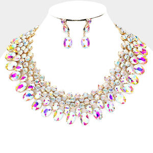 LUXE Gorgeous Gold AB Crystal Collar Cocktail Necklace Set