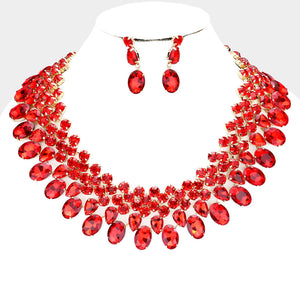 LUXE Gorgeous Gold Siam Red Crystal Collar Cocktail Necklace Set