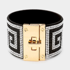 GLAM Gold Black White Greek Pattern Crystal Cuff Lock Bracelet