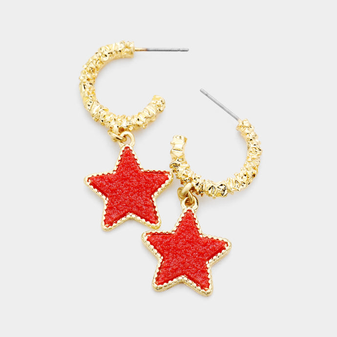 UNUSUAL Gold Red Druzy Textured Metal Star Half Hoop Earrings