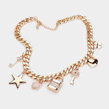 Gorgeous Statement Gold Crystal Lucky Charm Lock Curb Necklace Set