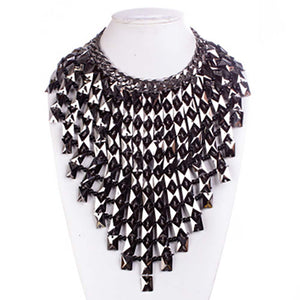 SPECTACULAR Couture Hematite Bib Stone Cocktail Necklace Set