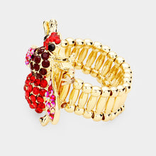 STATEMENT HUGE Gold Red Crystal Stretch Honey Bee Cocktail Ring