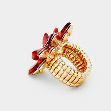 STATEMENT GLAM Gold Ruby Red Crystal Stretch Cocktail Ring