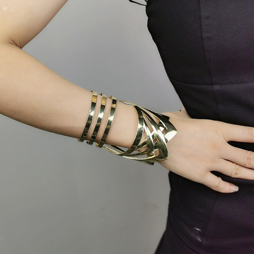 STATEMENT Geometric Gold Super Shine Long Cuff Bangle Bracelet
