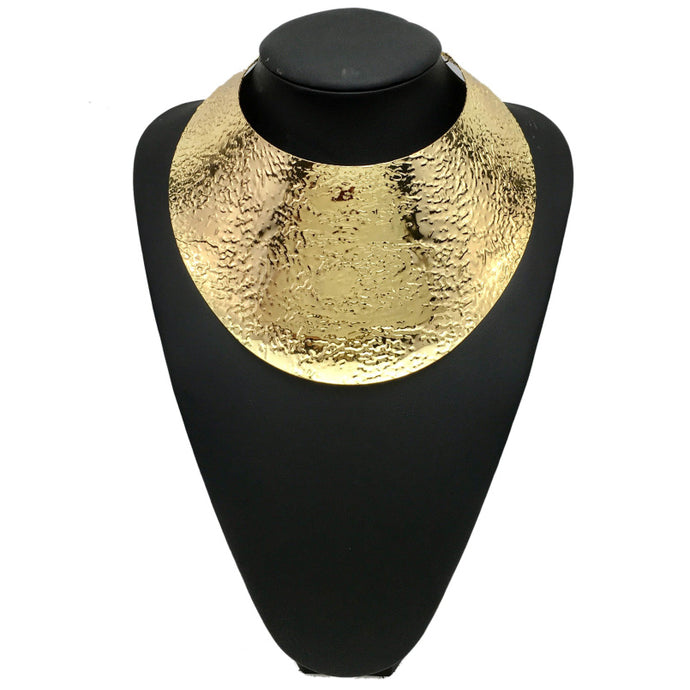 LUXE Celeb Statement Gold Textured Curved Cuff Choker Necklace