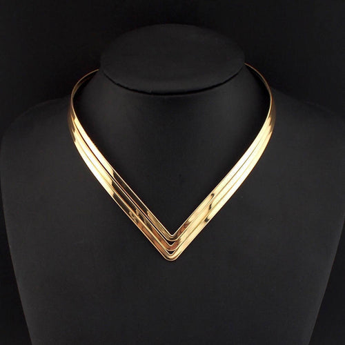 ELEGANT Open Cuff Collar Super Shine Necklace Silver or Gold