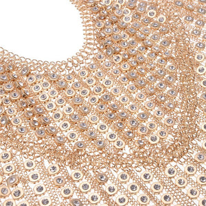 LUXE SPECTACULAR Statement Gold Crystal Shoulder Body Necklace