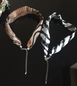 Silver Animal Print Zebra Brown or Grey Chiffon Scarf Necklace