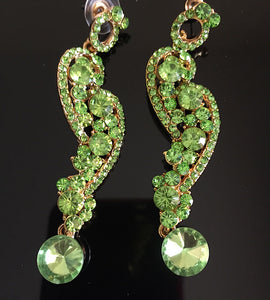 "Contemporary Vibrant Peridot Crystal Big 3"" Cocktail Earrings"