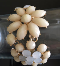 Gold Cream Stone White Opal Crystal Stretch Cocktail Bracelet
