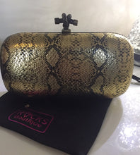 VINTAGE Antique Gold Black Snake Print Small Clutch Bag