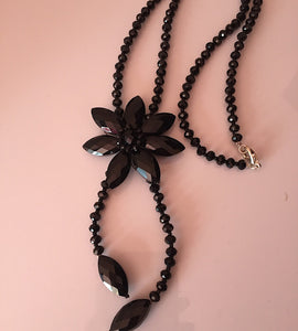Jet Crystal BIG Flower Design Long Y Necklace