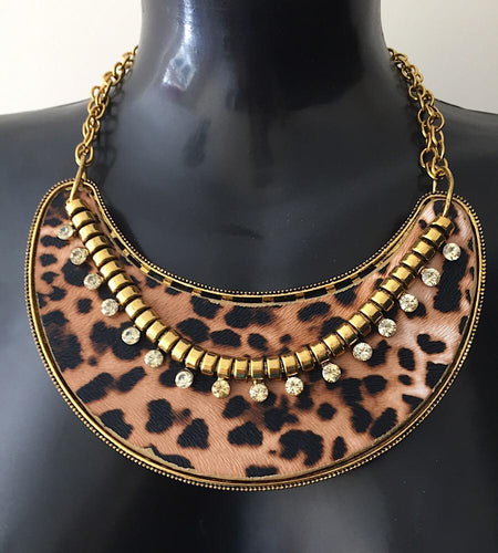 VINTAGE Statement Gold Leopard Crystal Collar Bib Necklace