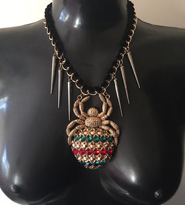 Statement Glam Red Green HUGE Crystal Spider Gold Collar Necklace
