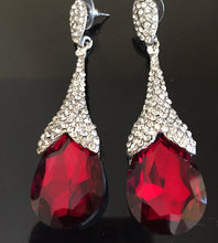 "GLAM Silver Burgundy Red Pave Crystal 3"" Cocktail Earrings"