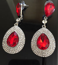 "GLAM Silver Siam Red Tear Drop Pave Crystal 3"" Cocktail Earrings"