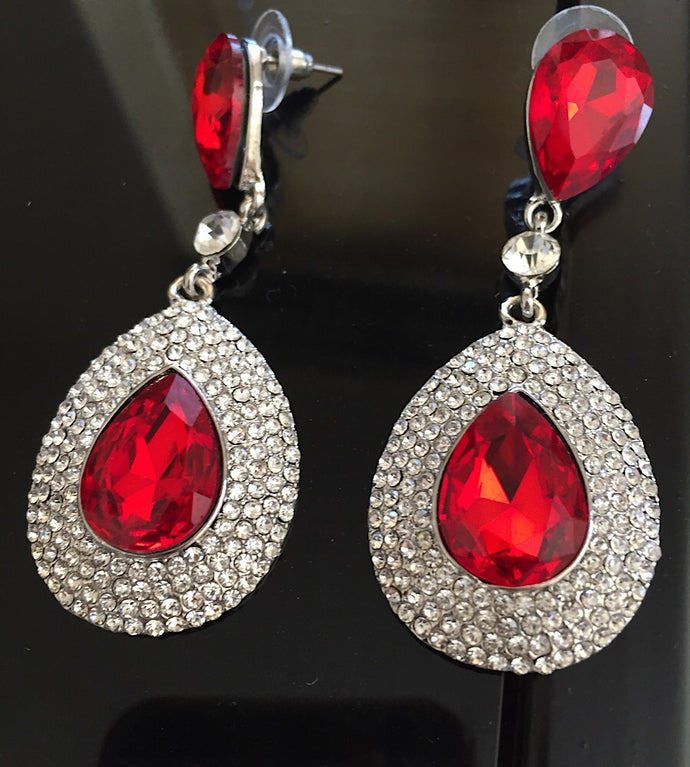 GLAM Silver Siam Red Tear Drop Pave Crystal 3